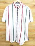 XL★古着 半袖 シャツ 90年代 ラルフローレン Ralph Lauren チャップス 白 ホワイト ストライプ 18may22 中古 メンズ トップス