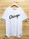 XL★古着 半袖 ベースボース シャツ スターター STARTER MLB シカゴホワイトソックス BELLE 大きいサイズ 白 ホワイト ストライプ 18jun08 中古 メンズ トップス