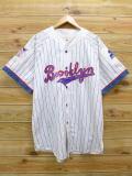 XL★古着 半袖 ベースボール シャツ 90年代 スターター STARTER MLB ブルックリンドジャース 大きいサイズ 白 ホワイト ストライプ メジャーリーグ 野球 18jun08 中古 メンズ トップス