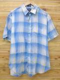 XL★古着 半袖 シャツ 80年代 USA製 青 ブルー チェック 18jun13 中古 メンズ トップス
