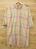 XL★古着 半袖 シャツ 90年代 GAP 大きいサイズ 黄 イエロー チェック 18jun13 中古 メンズ トップス