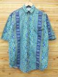 S★古着 半袖 シャツ 90年代 USA製 幾何学柄 青緑 【spe】 18jun13 中古 メンズ トップス