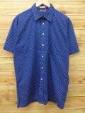 XL★古着 半袖 シャツ 80年代 USA製 紺 ネイビー ドット 【spe】 18jun13 中古 メンズ トップス