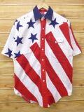 M★古着 半袖 シャツ 90年代 星条旗 USA製 白 ホワイト 18jun13 中古 メンズ トップス