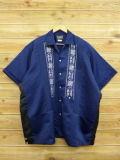 XL★古着 半袖 キューバ シャツ 80年代 花 大きいサイズ 紺 ネイビー 18jun14 中古 メンズ トップス