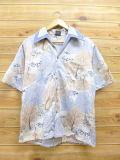 L★古着 半袖 シャツ 70年代 木 水色系 sh70s 18jul10 中古 メンズ トップス
