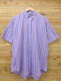 XL★古着 半袖 シャツ 90年代 ラルフローレン Ralph Lauren ロゴ 大きいサイズ 薄紺他 ネイビー ストライプ 18jun22 中古 メンズ トップス