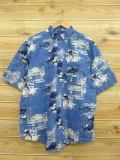 XL★古着 半袖 シャツ ピューリタン 魚 船 薄紺 ネイビー 18jul09 中古 メンズ トップス
