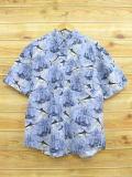 XL★古着 半袖 シャツ ピューリタン 魚 ヨット 薄紺 ネイビー 18jul09 中古 メンズ トップス