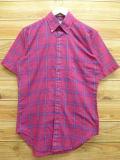 S★古着 半袖 シャツ 80年代 USA製 濃ピンク チェック 18jul16 中古 メンズ トップス WS