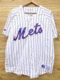 L★古着 半袖 ベースボール シャツ 90年代 ラッセル MLB ニューヨークメッツ USA製 白 ホワイト ストライプ メジャーリーグ 野球 18jul16 中古 メンズ トップス