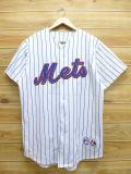 L★古着 半袖 ベースボール シャツ マジェスティック MLB ニューヨークメッツ カルロスベルトラン 白 ホワイト ボーダー ユニフォーム 18jul31 中古 メンズ トップス