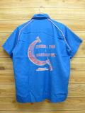 L★古着 半袖 ボウリング シャツ 80年代 ヒルトン MOR USA製 青 ブルー 18aug07 中古 メンズ トップス