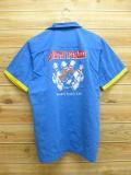 L★古着 半袖 ボウリング シャツ ヒルトン 青 ブルー 18aug07 中古 メンズ トップス