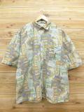 XL★古着 半袖 シャツ 大きいサイズ 黄緑系 18aug08 中古 メンズ トップス