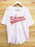 L★古着 半袖 ベースボール シャツ 90年代 Rich USA製 白 ホワイト ストライプ 18aug09 中古 メンズ トップス