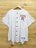 XL★古着 半袖 ベースボール シャツ 90年代 マジェスティック MLB デトロイトタイガース USA製 白 ホワイト ストライプ ユニフォーム 18aug27 中古 メンズ トップス
