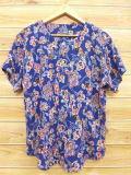 L★古着 半袖 シャツ 90年代 花 ノーカラー レーヨン 紺 ネイビー lsh 18aug29 中古 メンズ トップス