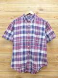 XL★古着 半袖 シャツ 90年代 ラルフローレン Ralph Lauren 大きいサイズ エンジ チェック 18aug30 中古 メンズ トップス