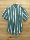 XL★古着 半袖 シャツ 90年代 ラルフローレン Ralph Lauren チャップス 大きいサイズ 緑 グリーン ストライプ 18sep03 中古 メンズ トップス