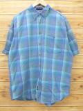 XL★古着 半袖 シャツ リー Lee 緑 グリーン チェック 18sep05 中古 メンズ トップス