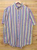 XL★古着 半袖 シャツ 青 ブルー ストライプ 18sep05 中古 メンズ トップス