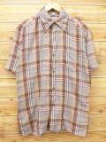 S★古着 半袖 シャツ 70年代 茶 ブラウン チェック 18sep05 中古 メンズ トップス