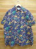 XL★古着 半袖 シャツ 90年代 葉巻 USA製 紺 ネイビー 【spe】 18sep05 中古 メンズ トップス