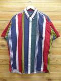 XL★古着 半袖 シャツ ラルフローレン Ralph Lauren チャップス 大きいサイズ 紺他 ネイビー ストライプ 18sep05 中古 メンズ トップス