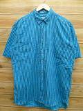 L★古着 半袖 シャツ 90年代 水色 ストライプ 18sep05 中古 メンズ トップス