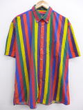 XL★古着 半袖 シャツ 大きいサイズ 赤他 レッド ストライプ 19mar22 中古 メンズ トップス