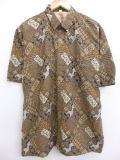 L★古着 半袖 シャツ 90年代 花 茶 ブラウン 19mar22 中古 メンズ トップス
