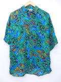 L★古着 半袖 シャツ 90年代 ペイズリー レーヨン 緑他 グリーン 19apr12 中古 メンズ トップス