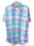 M★古着 半袖 シャツ 90年代 緑 グリーン マドラス チェック 19jun10 中古 メンズ トップス