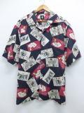 XL★古着 半袖 シャツ トランプ シルク 大きいサイズ 黒 ブラック 【spe】 19jun17 中古 メンズ トップス