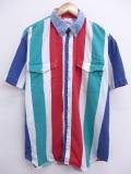 XL★古着 半袖 シャツ 90年代 マルチカラー 襟デニム 大きいサイズ USA製 緑他 グリーン ストライプ 19jun19 中古 メンズ トップス