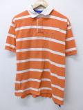 L★古着 半袖 ラガー シャツ 90年代 ラルフローレン Ralph Lauren ロゴ オレンジ ボーダー 19jul09 中古 メンズ トップス