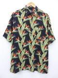 L★古着 半袖 シャツ ピューリタン 植物 レーヨン 黒 ブラック 19jul24 中古 メンズ トップス