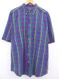 XL★古着 半袖 シャツ シアサッカー 大きいサイズ 紺他 ネイビー チェック 19aug20 中古 メンズ トップス