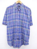 XL★古着 半袖 シャツ 大きいサイズ アロー 紺系他 ネイビー チェック 19aug20 中古 メンズ トップス