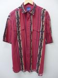 XL★古着 半袖 ウエスタン シャツ ラングラー Wrangler ネイティブ柄 大きいサイズ 赤 レッド 19aug23 中古 メンズ トップス