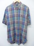 XL★古着 半袖 シャツ 90年代 ラルフローレン Ralph Lauren ロゴ 緑他 グリーン オーバー チェック 19aug23 中古 メンズ トップス