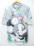 L★古着 半袖 サイクリング シャツ 90年代 ディズニー DISNEY ミッキー MICKEY MOUSE グーフィー プルート ドナルド 白 ホワイト 【spe】 19aug23 中古 メンズ トップス
