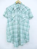 M★古着 半袖 ウエスタン シャツ 80年代 緑他 グリーン チェック 19aug26 中古 メンズ トップス