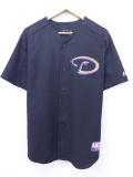 XL★古着 半袖 ベースボール シャツ マジェスティック MLB 大きいサイズ 黒 ブラック メジャーリーグ 野球 ユニフォーム 19aug27 中古 メンズ トップス