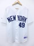 XL★古着 半袖 ベースボール シャツ 90年代 マジェスティック MLB ニューヨークメッツ ヘクターサンティアゴ USA製 大きいサイズ 白 ホワイト メジャーリーグ 野球 ユニフォーム 19aug27 中古 メンズ トップス