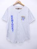 L★古着 半袖 ベースボール シャツ 90年代 ケンタッキー USA製 グレー 霜降り ストライプ 19aug28 中古 メンズ トップス