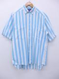 L★古着 半袖 シャツ ウールリッチ WOOLRICH 水色 ストライプ 19aug28 中古 メンズ トップス