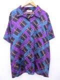 XL★古着 半袖 シャツ 大きいサイズ 紫他 パープル 19aug28 中古 メンズ トップス