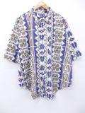 XL★古着 半袖 シャツ ネイティブ柄 ラグ柄 大きいサイズ 紺他 ネイビー 【spe】 19aug28 中古 メンズ トップス